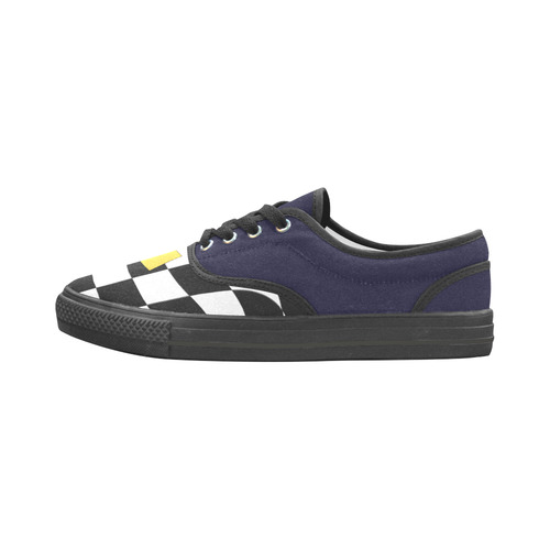 Dropout Yellow Black and White Distorted Check Aries Women's Canvas Shoes (Model 029)