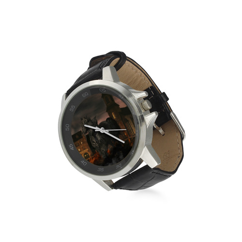 A dark horse in a knight armor Unisex Stainless Steel Leather Strap Watch(Model 202)