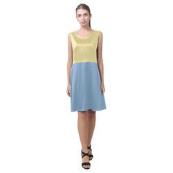 Custard and Dusk Blue Chryseis Sleeveless Pleated Dress(Model D07)