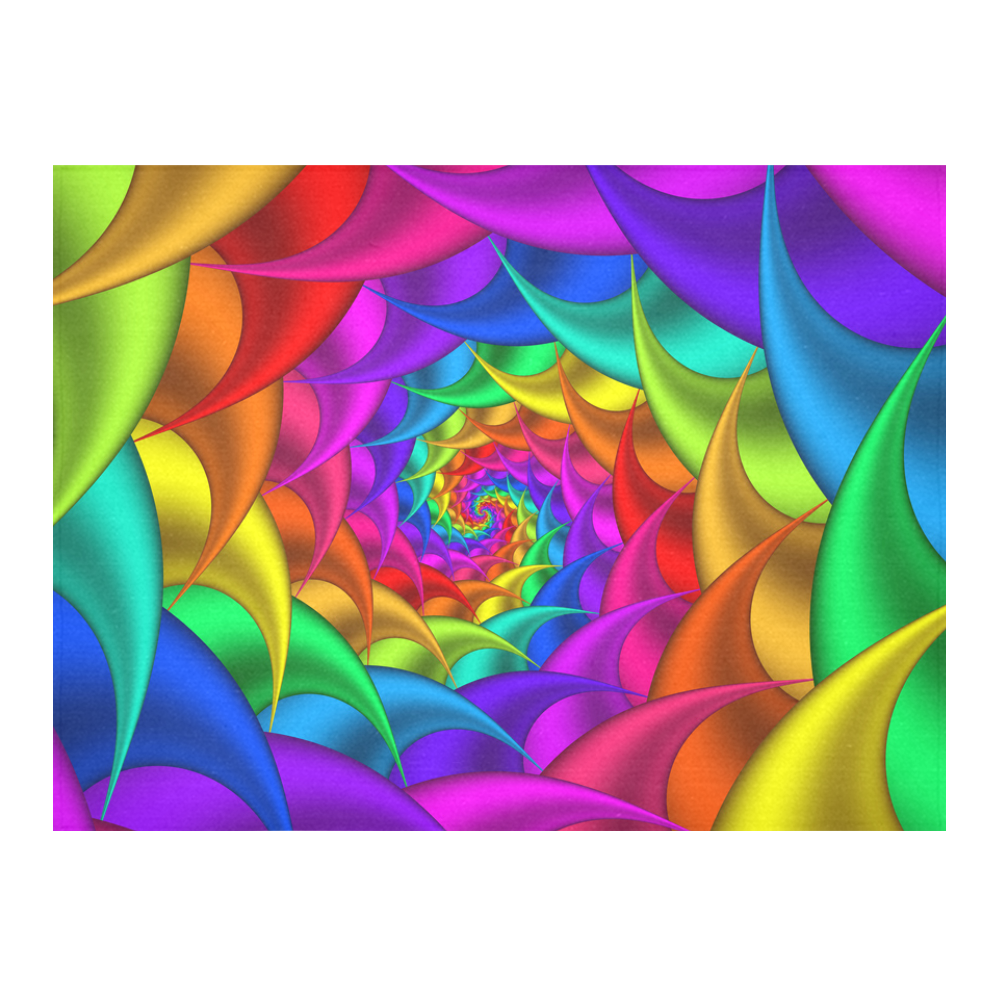 """Psychedelic Rainbow Fractal Spiral Cotton Linen Tablecloth 52""""x 70"""""""