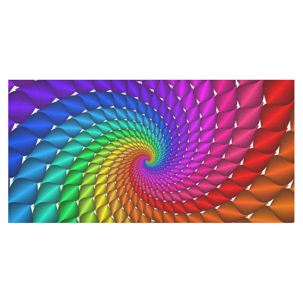 """Psychedelic Rainbow Fractal Spiral Cotton Linen Tablecloth 60""""x120"""""""