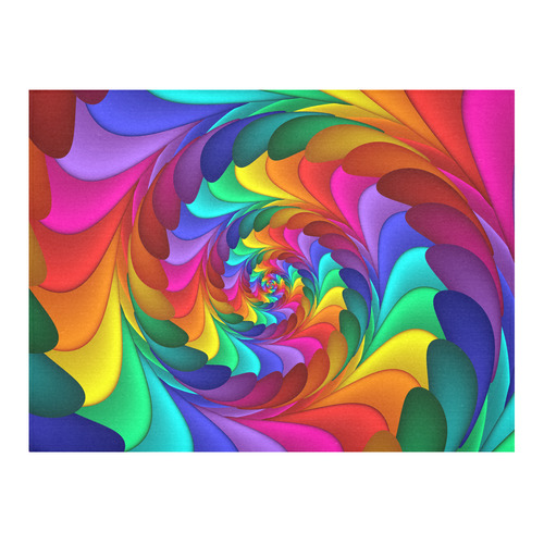 "Psychedelic Rainbow Fractal Spiral Cotton Linen Tablecloth 52""x 70"""