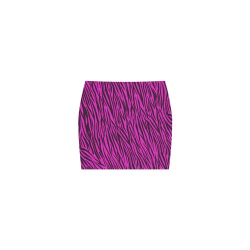 Pink Zebra Stripes Fur Print Nemesis Skirt (Model D02)