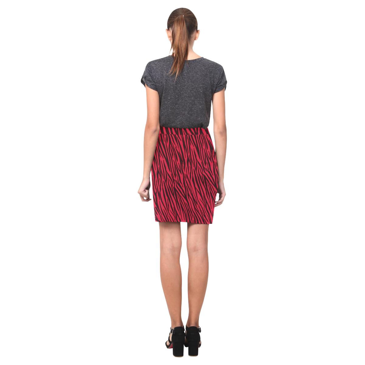 Red Zebra Stripes Fur Print Nemesis Skirt (Model D02)