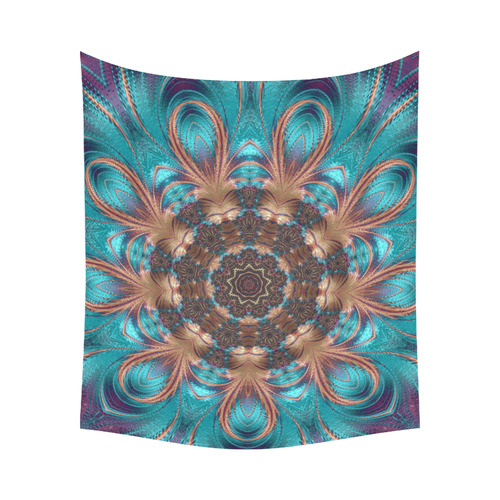 """Teal and Gold Kaleidoscope Mandala Cotton Linen Wall Tapestry 60""""x 51"""""""