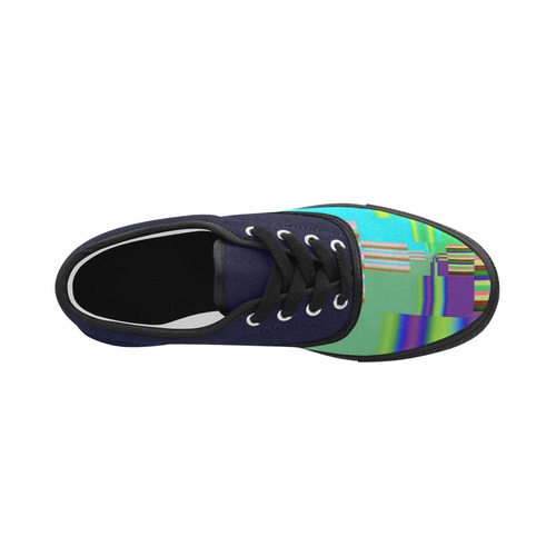 Endless Windows Stripes Lilac Green Aries Women's Canvas Shoes (Model 029)