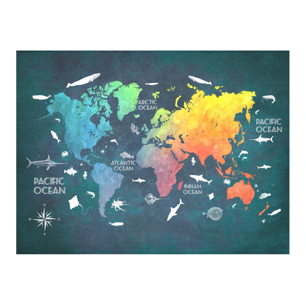 "world map Cotton Linen Tablecloth 52""x 70"""