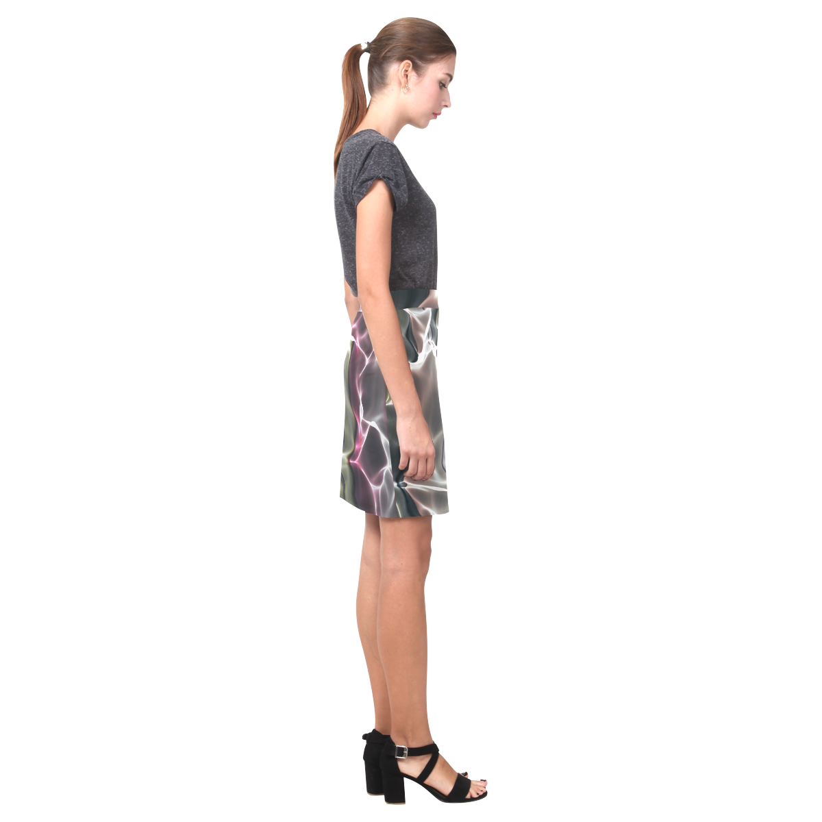 Abstract Wavy Mesh Nemesis Skirt (Model D02)