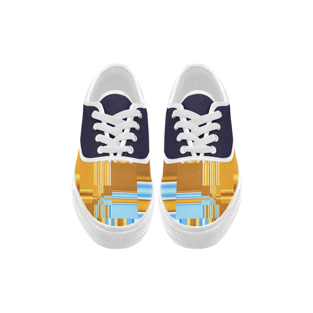 Endless Windows Stripes Gold Blue Aries Women's Canvas Shoes (Model 029)