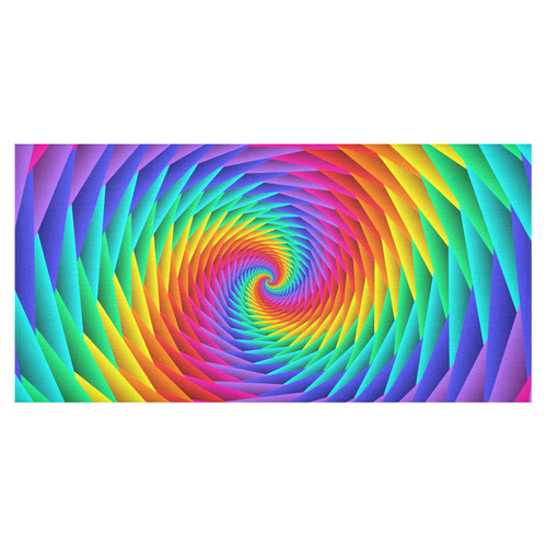 "Psychedelic Rainbow Fractal Spiral Cotton Linen Tablecloth 60""x120"""
