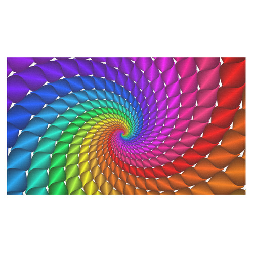"""Psychedelic Rainbow Fractal Spiral Cotton Linen Tablecloth 60""""x 104"""""""