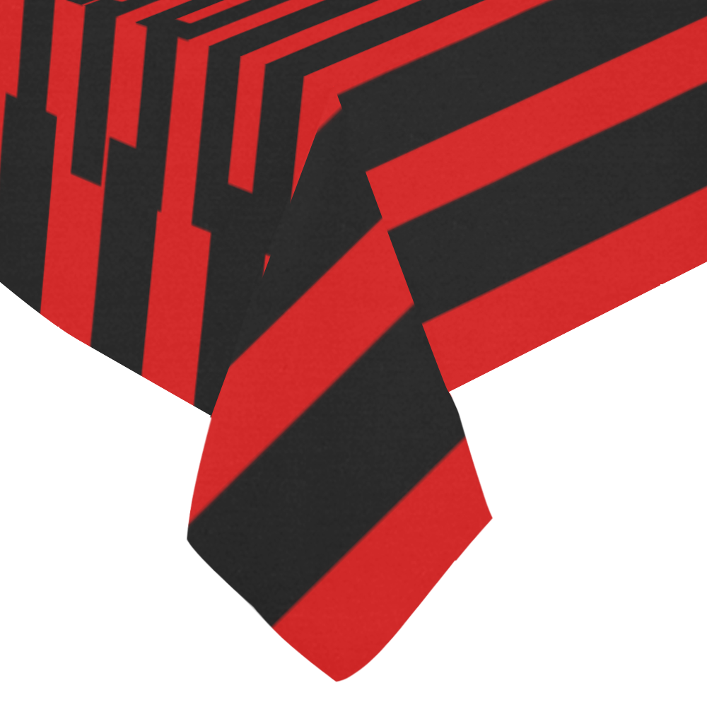 "Graphical Stripes Black Cotton Linen Tablecloth 60""x 84"""
