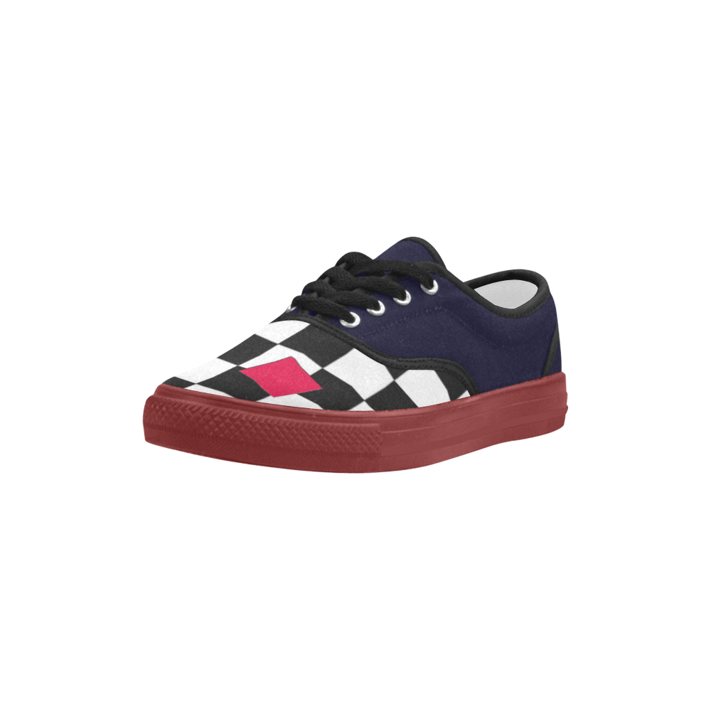 Dropouts Red Black and White Chess Aries Women's Canvas Shoes (Model 029)