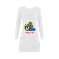 Happy Holidays Reindeer Pug Demeter Long Sleeve Nightdress (Model D03)