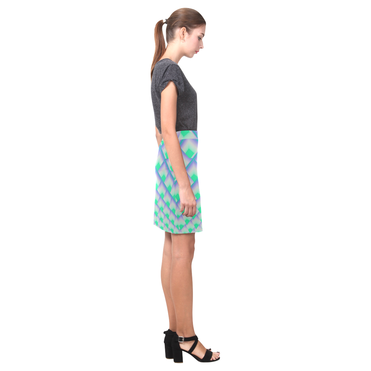 3d Turquoise Geometric Abstract Pyramids Nemesis Skirt (Model D02)