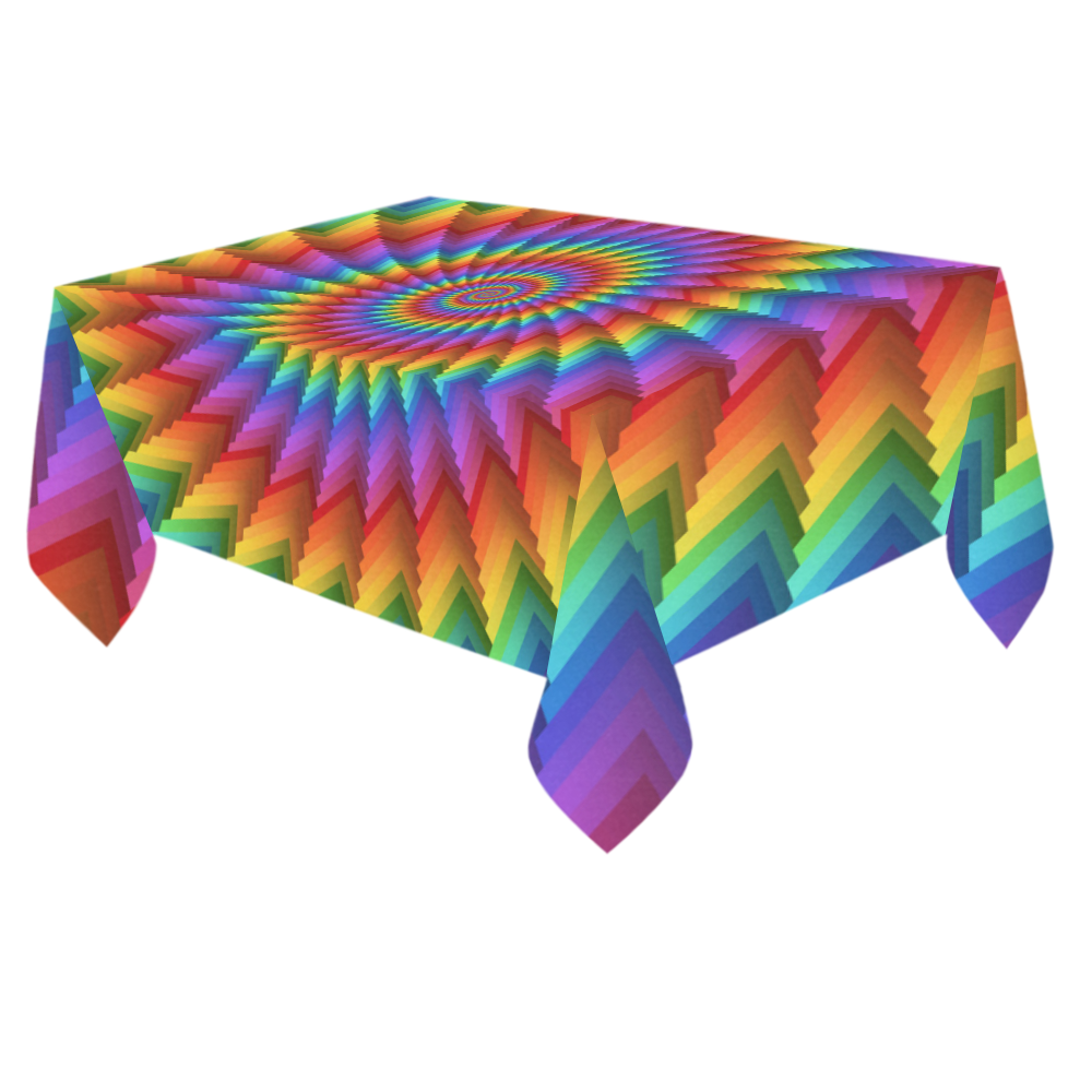 """Psychedelic Rainbow Fractal Spiral Cotton Linen Tablecloth 60""""x 84"""""""