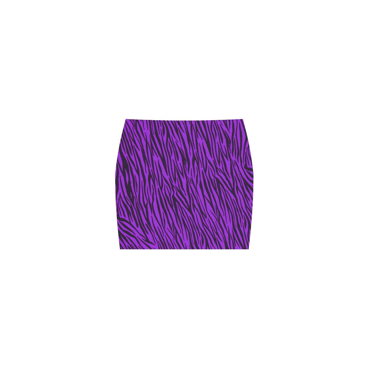 Purple Zebra Stripes Fur Print Nemesis Skirt (Model D02)