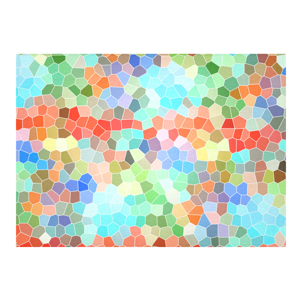 "Colorful Mosaic Cotton Linen Tablecloth 60""x 84"""