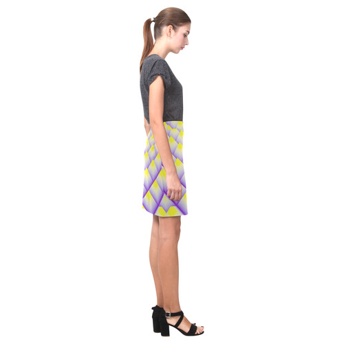 Purple and Yellow 3d Pyramids Nemesis Skirt (Model D02)