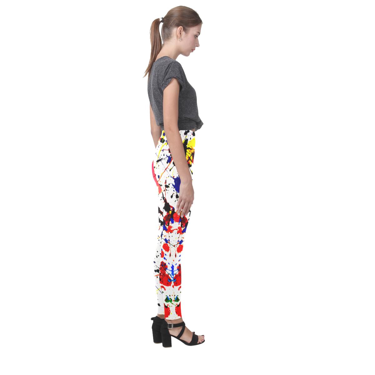 Blue & Red Paint Splatter Cassandra Women's Leggings (Model L01)
