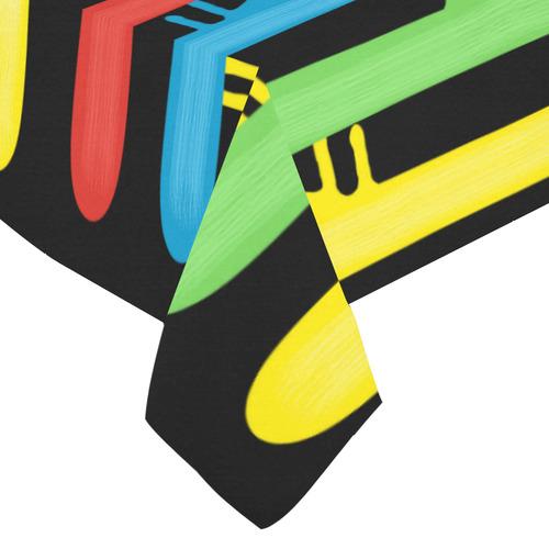 "Rainbow Strokes of the Brush Cotton Linen Tablecloth 60""x 84"""
