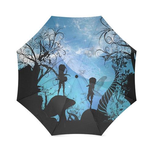 Flying fairy in the dark night Foldable Umbrella (Model U01)