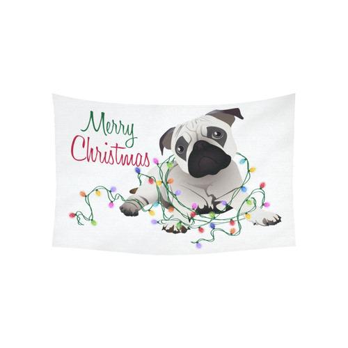 "Merry Christmas Pug and Christmas Lights Cotton Linen Wall Tapestry 60""x 40"""