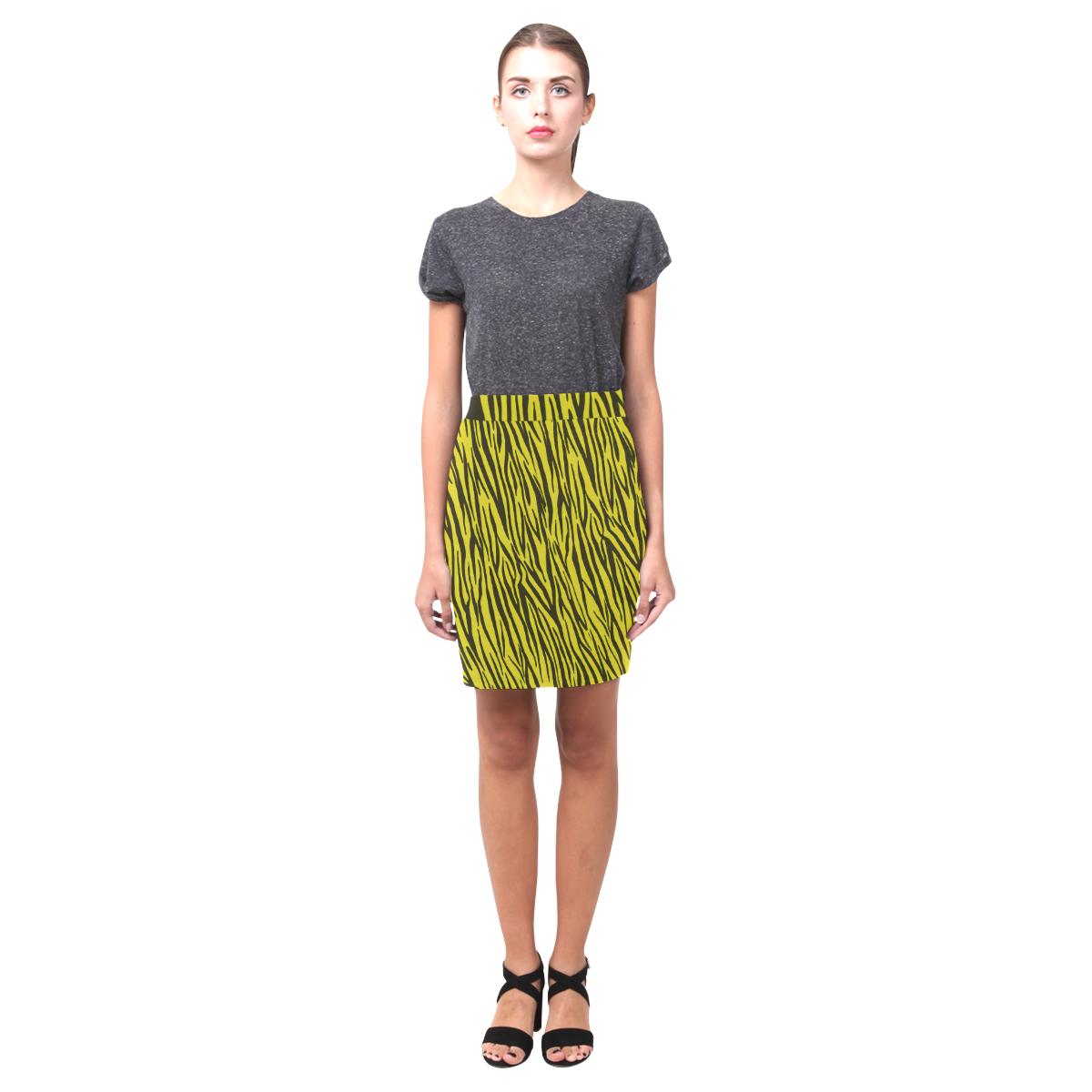 Yellow Zebra Stripes Fur Print Nemesis Skirt (Model D02)