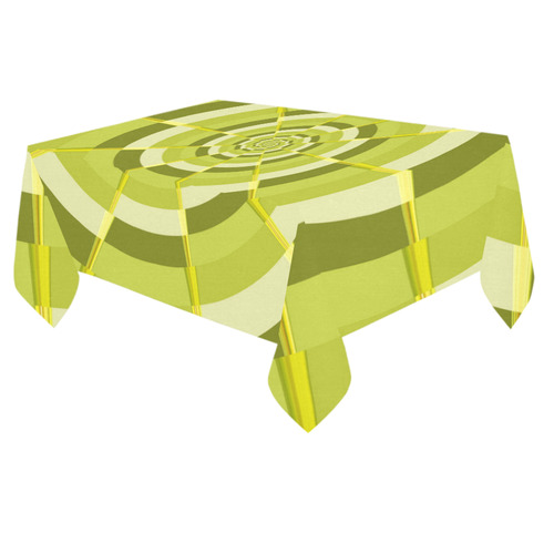 "Crazy Dart Green Gold Spiral Cotton Linen Tablecloth 60""x 84"""