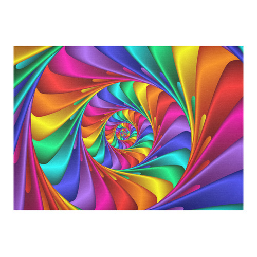 "Psychedelic Rainbow Fractal Spiral Cotton Linen Tablecloth 60""x 84"""