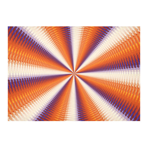 """Time Tunnel Orange Red Fawn Spiral Design Cotton Linen Tablecloth 60""""x 84"""""""