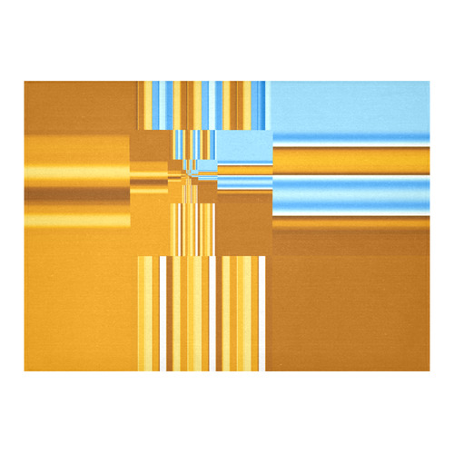 "Endless Windows Stripes Gold Blue Cotton Linen Tablecloth 60""x 84"""