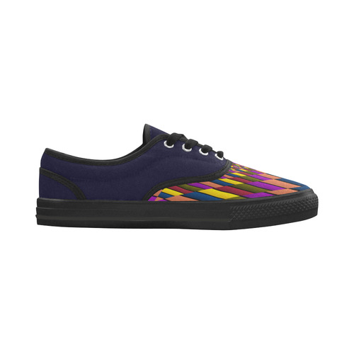 Autumn Colors Square Lilac Green Blue Yellow Aries Women's Canvas Shoes (Model 029)