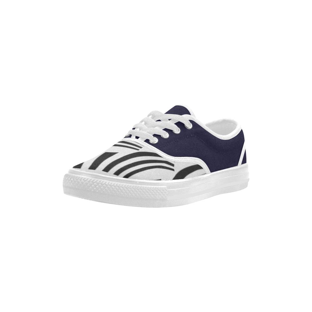Crazy Spiral Black Stripes Aries Women's Canvas Shoes (Model 029)