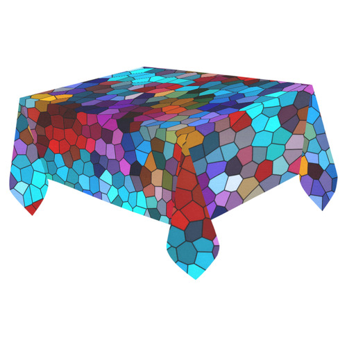 "Colorful Mosaic Cotton Linen Tablecloth 52""x 70"""
