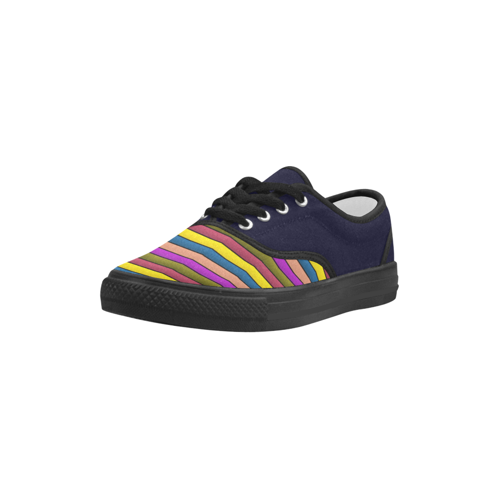 Autumn Colors Stripes Lilac Green Blue Yellow Aries Women's Canvas Shoes (Model 029)