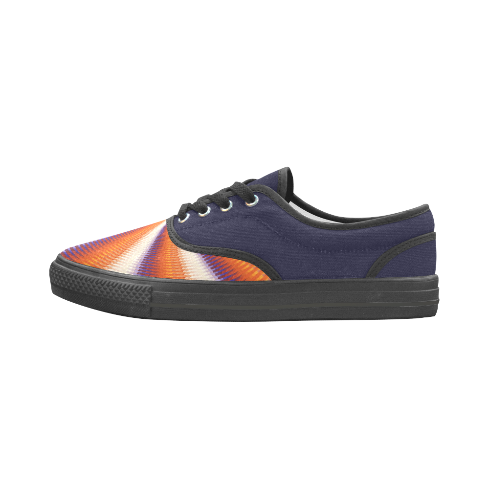 Time Tunnel Orange Red Fawn Spiral Design Aries Women's Canvas Shoes (Model 029)