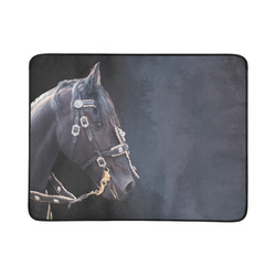 "A beautiful painting black friesian horse portrait Beach Mat 78""x 60"""