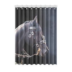 "A beautiful painting black friesian horse portrait Window Curtain 52"" x 72""(One Piece)"