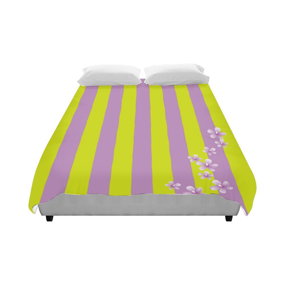 """Lavender Stripes Duvet Cover 86""""x70"""" ( All-over-print)"""