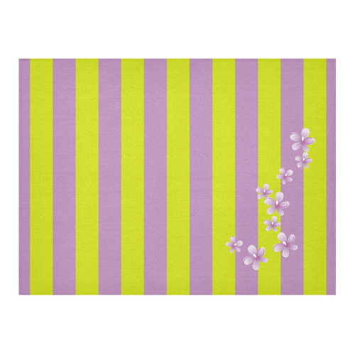 """Lavender Stripes Cotton Linen Tablecloth 52""""x 70"""""""