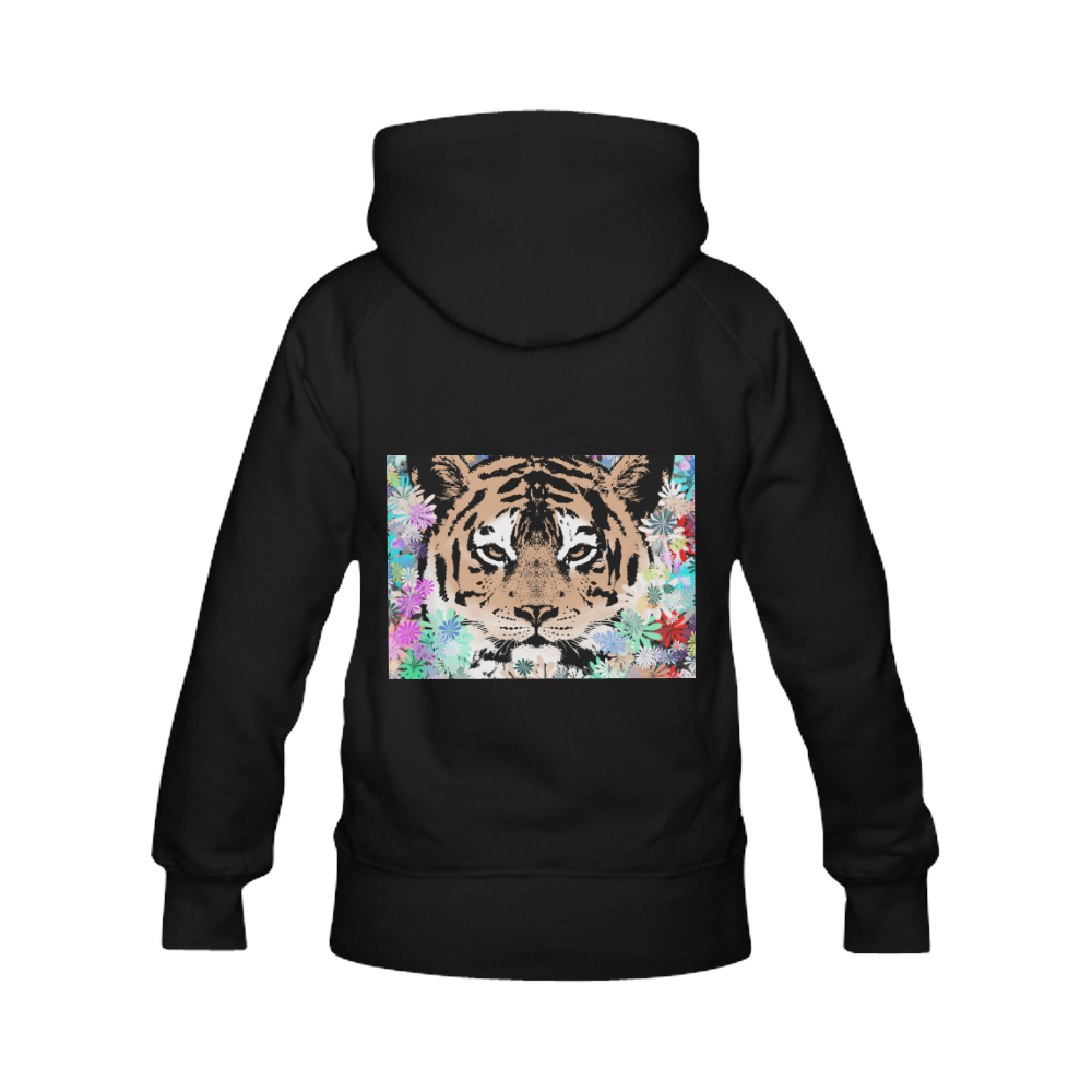 TIGER and FLOWERS Women's Classic Hoodies (Model H07)