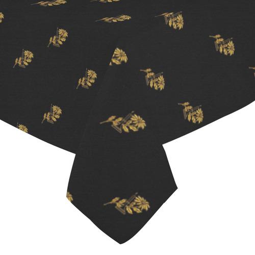 "HOLIDAYS +: Golden Poinsettia & Candle Cotton Linen Tablecloth 52""x 70"""