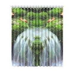 "Mossy Pixel Waterfall Window Curtain 52""x120""(Two Piece)"