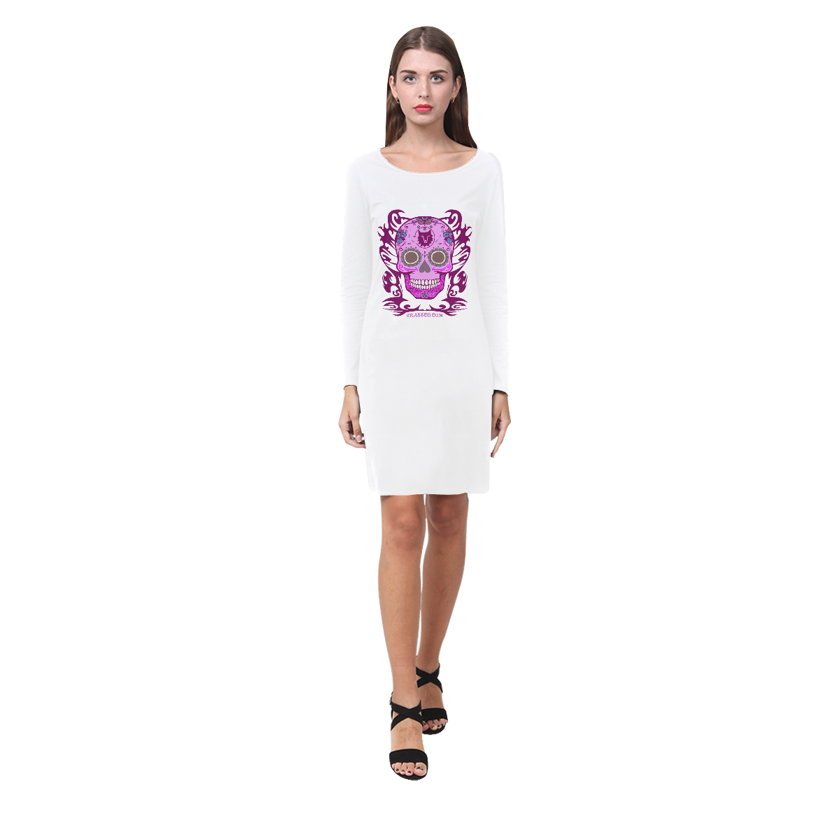 SKULL FLOWER PINK Demeter Long Sleeve Nightdress (Model D03)