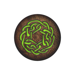Bright neon green Celtic Knot on genuine leather digital pattern Round Mousepad