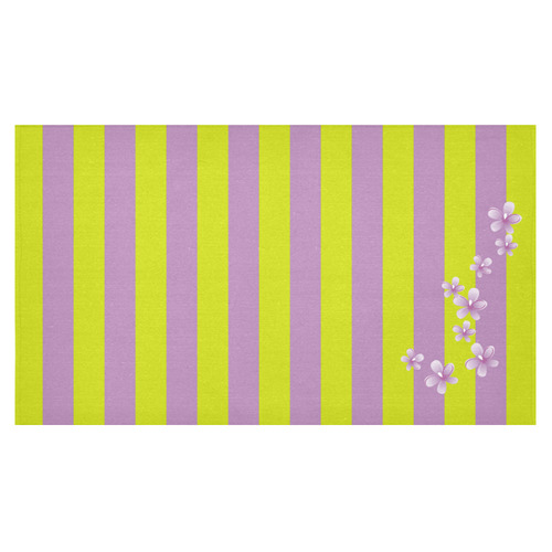 "Lavender Stripes Cotton Linen Tablecloth 60""x 104"""