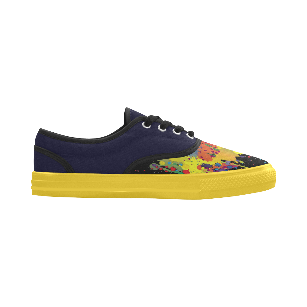 CRAZY multicolored double running SPLASHES Aries Men's Canvas Shoes (Model 029)