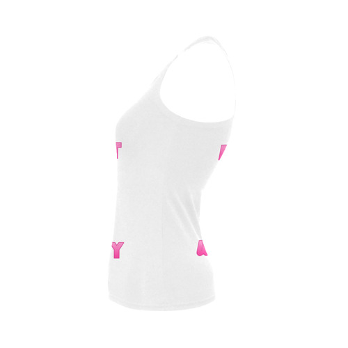 Funny Pink Donut - Don't Worry Women's Shoulder-Free Tank Top (Model T35)