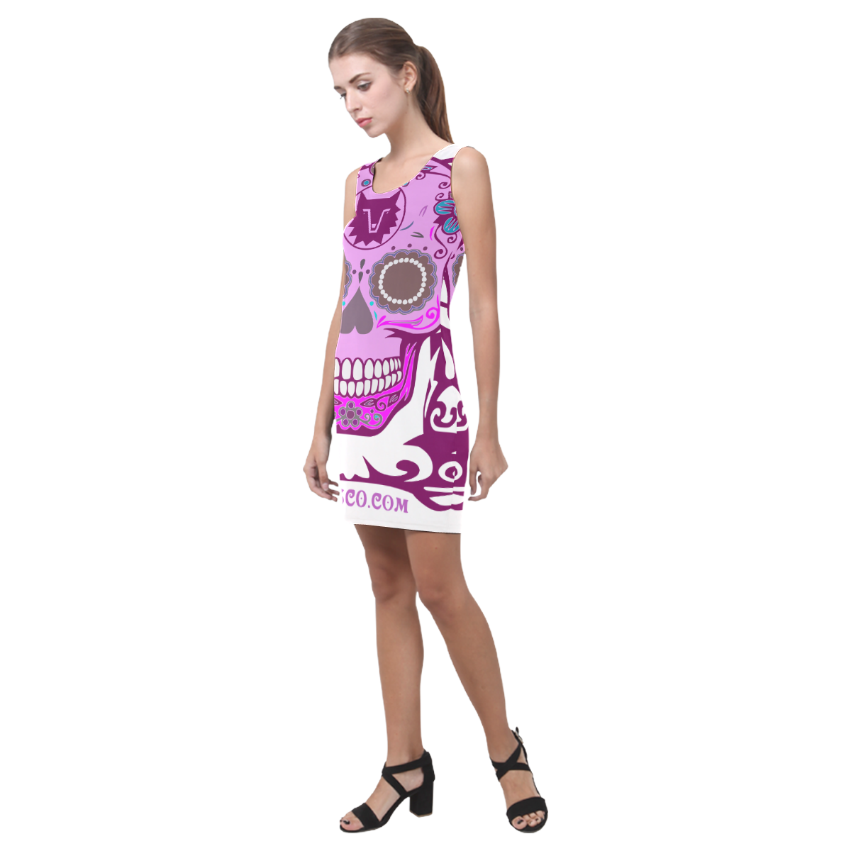 SKULL PINK I Medea Vest Dress (Model D06)